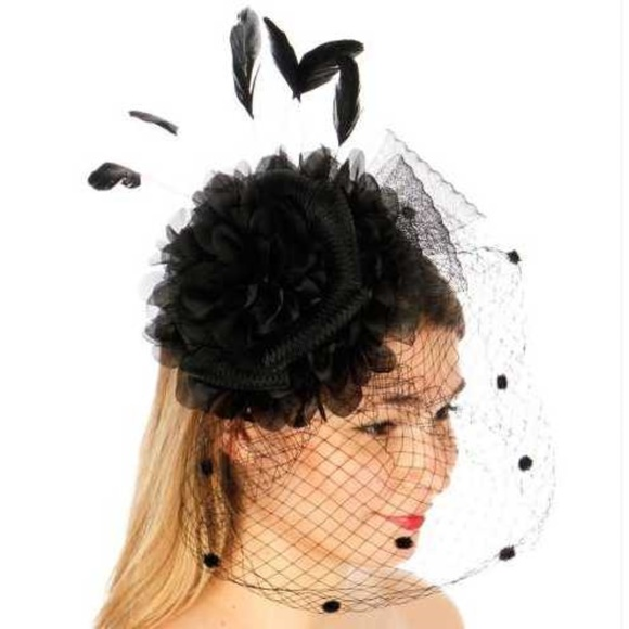 Ruffle flower feather fascinator Hat 47acbf9ca9e